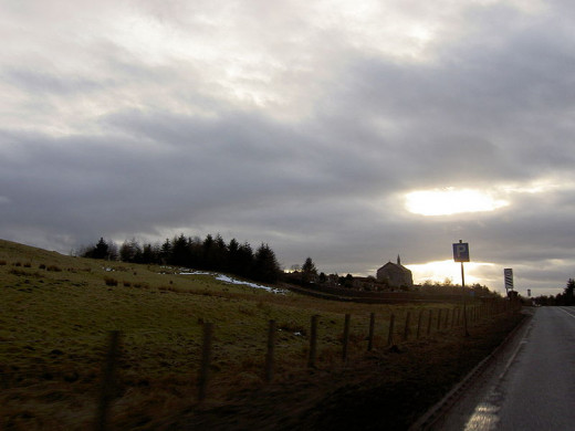 Kirk O'  Shotts - showing the kirk/church in the background, where very strange apparitions have been encountered by locals and drivers on the road.