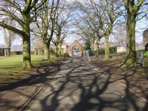 Penrith Castle Park main entrance is straight across the road from Penrith Railway Station
