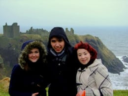 From the left: Sandy Magyar, Gábor Tirpak and Aiysha Jebali at Dunnotter Castle, Stonehaven, Scotland, UK
