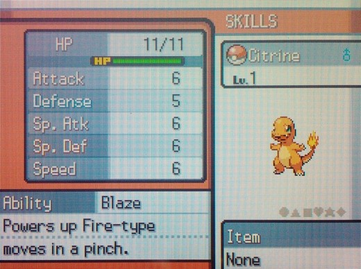 Charmander (nicknamed Citrine here) can evolve into a powerful Fire-type Pokemon.