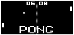 Pong by Atari Corporation. The two paddles return the ball back and forth. The score is kept by the numbers (06 and 08) at the top of the screen.