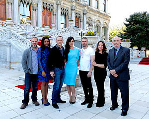 The cast and crew of Skyfall on location in Istanbul (L-R): director Sam Mendes, actors Naomie Harris, Daniel Craig, Bérénice Marlohe and Ola Rapace, with producers Barbara Broccoli and Michael G. Wilson.