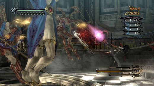 As a witch, Bayonetta makes use of both her powers and her flexibility.