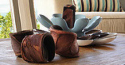 An artful, yet not literal, grouping of accessories in a coastal living room.