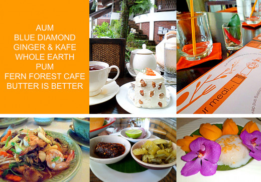 Clockwise: Tea at Fern Forest Cafe; table setting at Pum; sticky rice dessert at Whole Earth; side dishes at Ginger & Kafe;  noodles with seafood at Whole Earth
