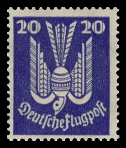 """A German Flugpost stamp from 1924 featuring a """"wooden dove"""" design."""