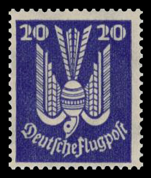 "A German Flugpost stamp from 1924 featuring a ""wooden dove"" design."