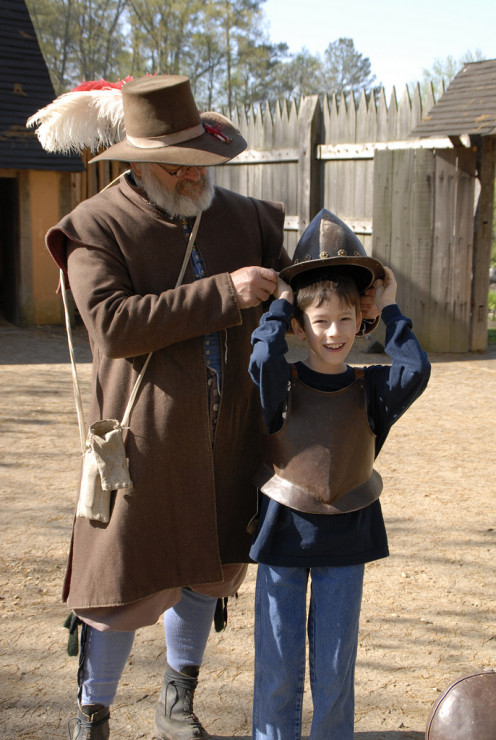At the Jamestown Settlement fort - boy in armor.