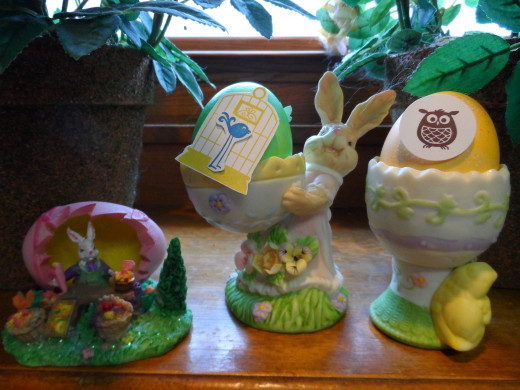 More eggs with Punch Art decorations in egg holders