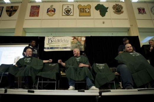 "Two shavees ""pound it"" in support of each other and St. Baldrick's."