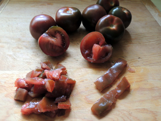 slice, seed and dice your tomatoes. Set aside.