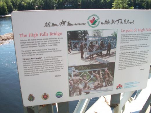 Commemorative panel, High Falls Bridge, Muskoka, Ontario