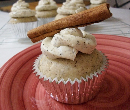 Chai Cupcakes with Frosting and Cinnamon Stick