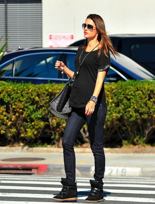 Miranda Kerr wearing the wedge sneaker