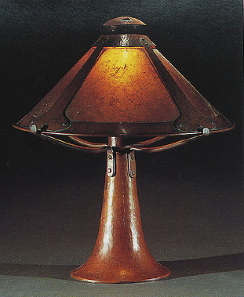 Quintessential Arts and Crafts table lamp--hammered copper with mica shade.