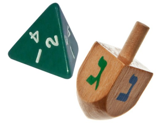 A tetrahedral D4 and dreidel are statistically equivalent.