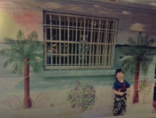 Painted on a wall by a pool in Tampa, FL, USA. Artist Nancy C Moore of NCM's Creations. This mural is quite large so only showing a portion my grandson is the model.