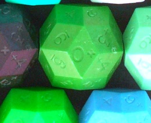 D30 rhombic triacontahedron dice.