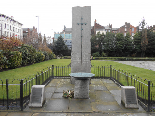 """'Memorial to the victims of the Irish Potato Famine """"The Great Famine"""" in the grounds of St Lukes Church, Liverpool, England.'"""