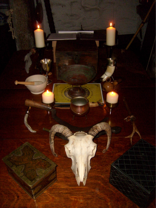 One example of a pagan altar. From Mal Corvus Witchcraft & Folklore artefact private collection owned by Malcolm Lidbury.