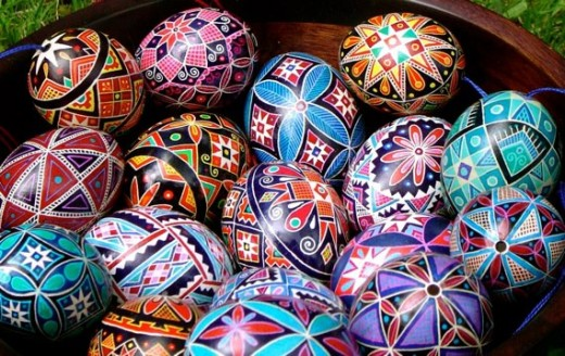 This is what Pysanky eggs look like after years of practice. I should hope to be half as good!
