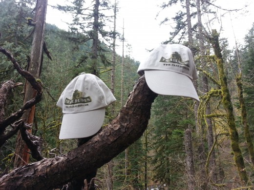 Our new TrailDudes trail hats sitting out in nature.