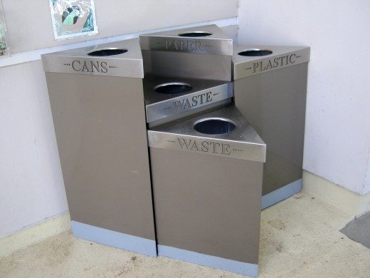 Recycling bins of the National Rain Forest El Yunque in Puerto Rico
