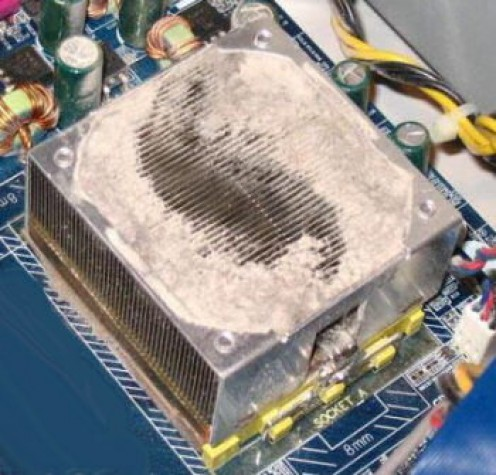 This is a typical sight you'll be presented with after you've removed the fan from the CPU heatsink (cooler)