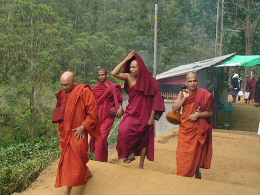 Buddhist monks on the lower slopes of  Adam's Peak
