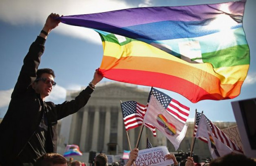 displaying gay pride flags in front of the supreme court.