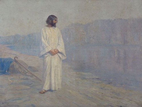 Christ near Golgotha, 1907, oil on canvas.  Jesus looks deep in thought in this painting.