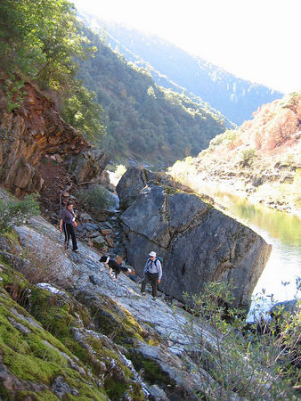 Gurr and two human friends just above the North Fork of the American River, on the Stevens Trail hike.