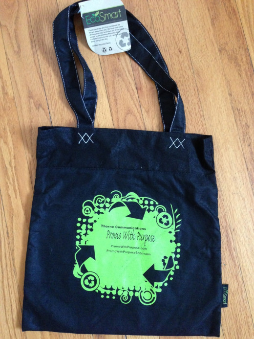 Popular flat promotional tote bag, also referred to as a trade show or conference bag.