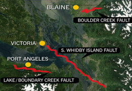 Whidbey Island lies across a major fault line in the area.