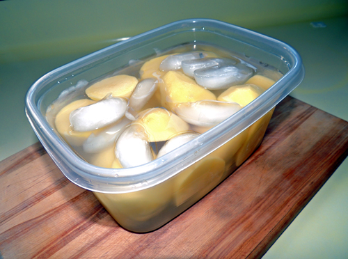 leave taters in cold water while you work to prevent browning