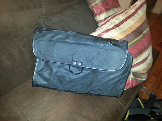 Even with all the pockets filled, it folds up to the size of a laptop.