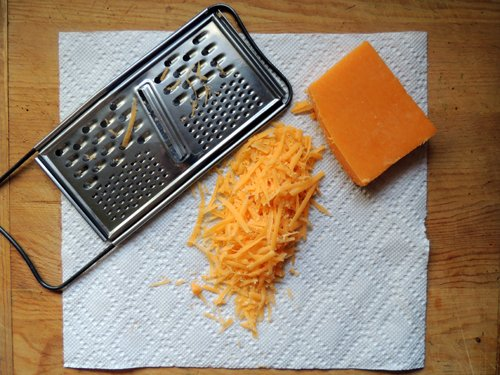 grate the cheddar