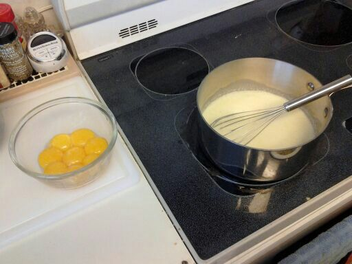 Tempering the egg yolks