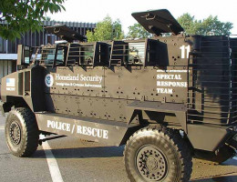 You gotta love the police/rescue stenciled on the side of this armored personnel carrier.
