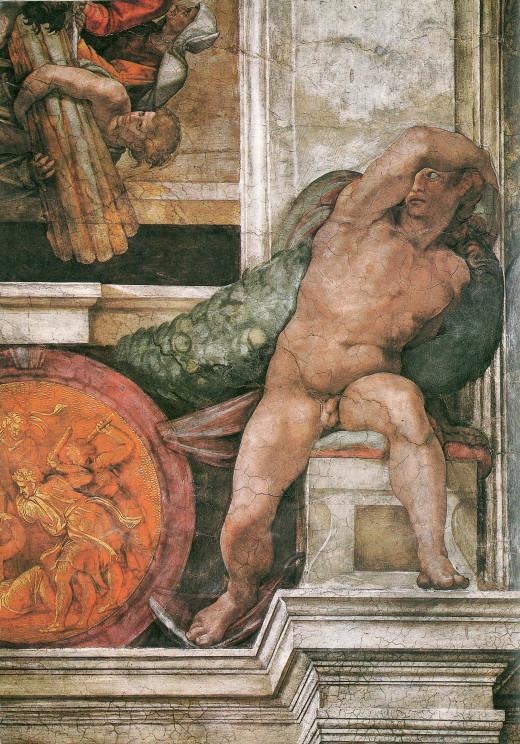 Ignudo rechts oberhalb des Propheten Jesaja 16th century Sistine Chapel ceiling Vatican, Rome, Italy.