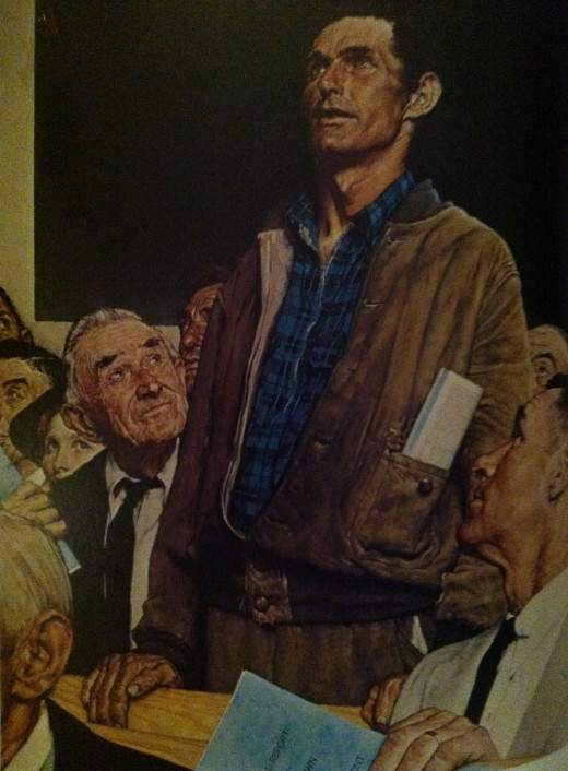 Norman Rockwell's Freedom of Worship Painting--Young Rose Hoyt is at the left, peeking from behind the elderly gentleman.