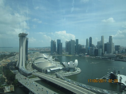 View from Singapore Flyer- Mariana Bay Sands