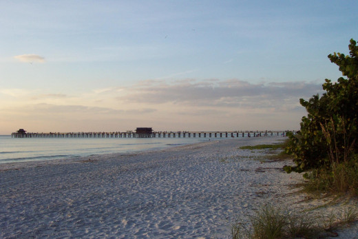 Naples beach and fishing pier