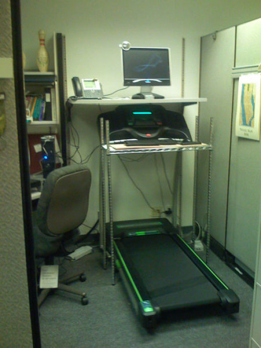 An example of a DIY treadmill desk/workstation.