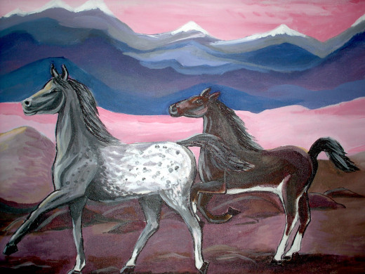 Wild horses on the plains All Rights Reserved by Artist