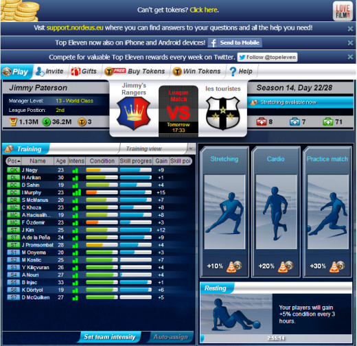 The training screen where you can chose the level of training for your players.