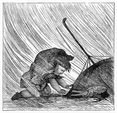 Little girl is defeated by the rainstorm that she snuck out into in this vintage drawing. The last in a series of 6 drawings of this naughty little girl, she finds herself on her hands and knees in the rain with her favorite doll lying in a puddle
