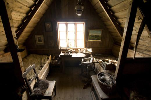 A beautiful attic bedroom.