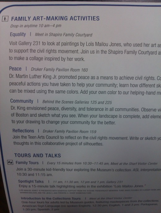 Here are instructions posted during the recent MLK Day Open House at Boston's MfA.