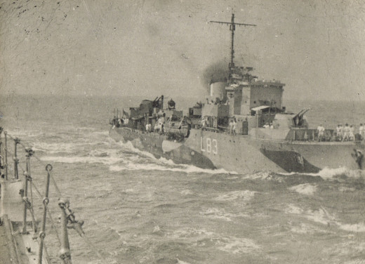 The British Destroyer 'The Derwent' - My father served on this for a year before D-Day. Note the open bridge.